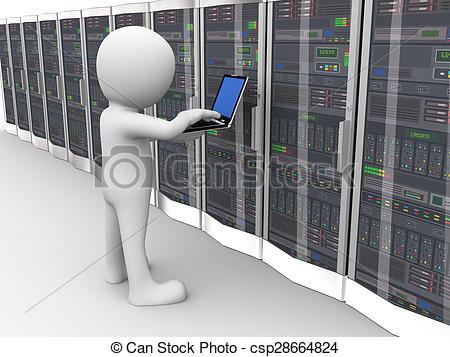 Illustration clipart server 3d room man man data