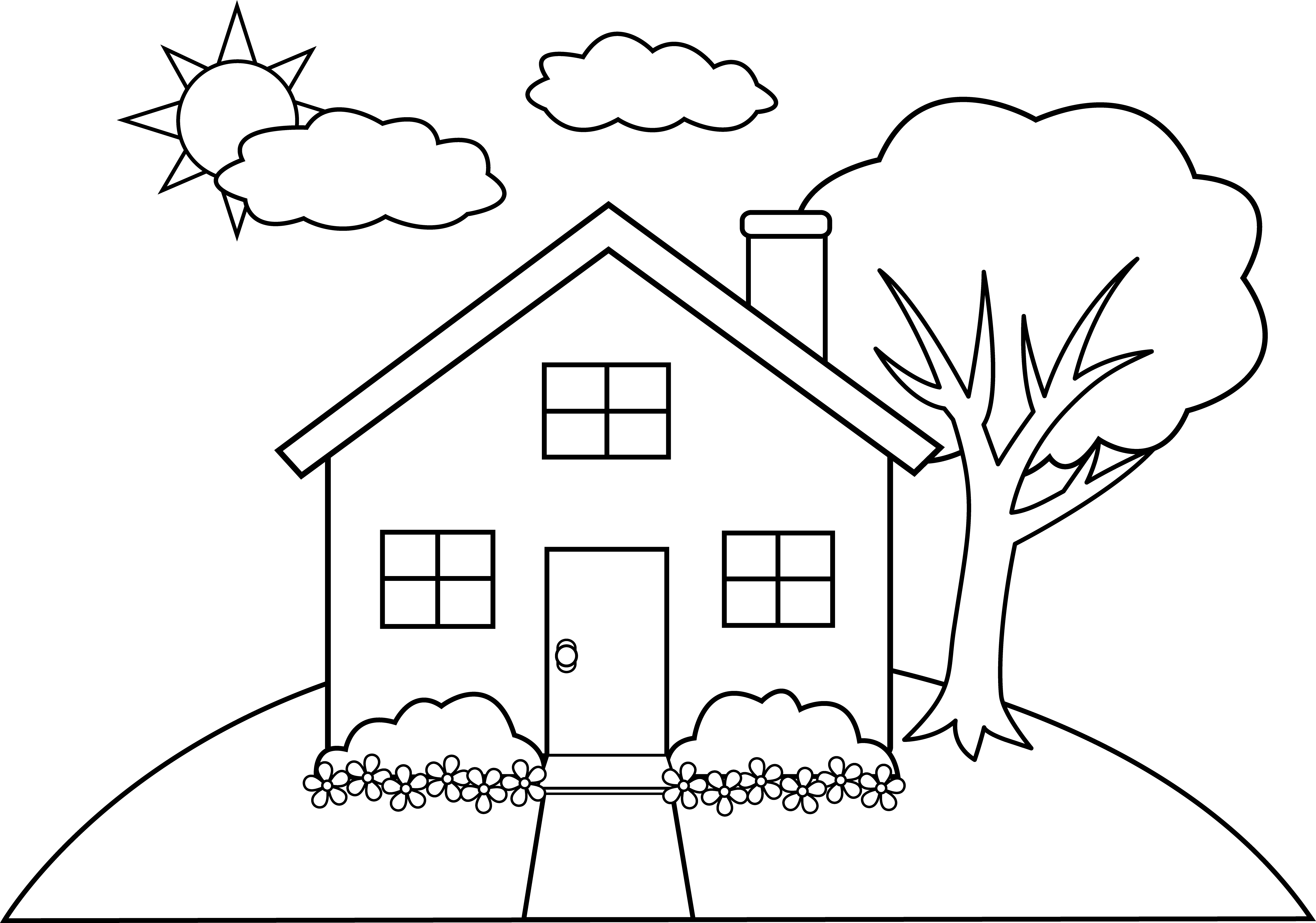 Drawn hill clip art Line a a Colorable House