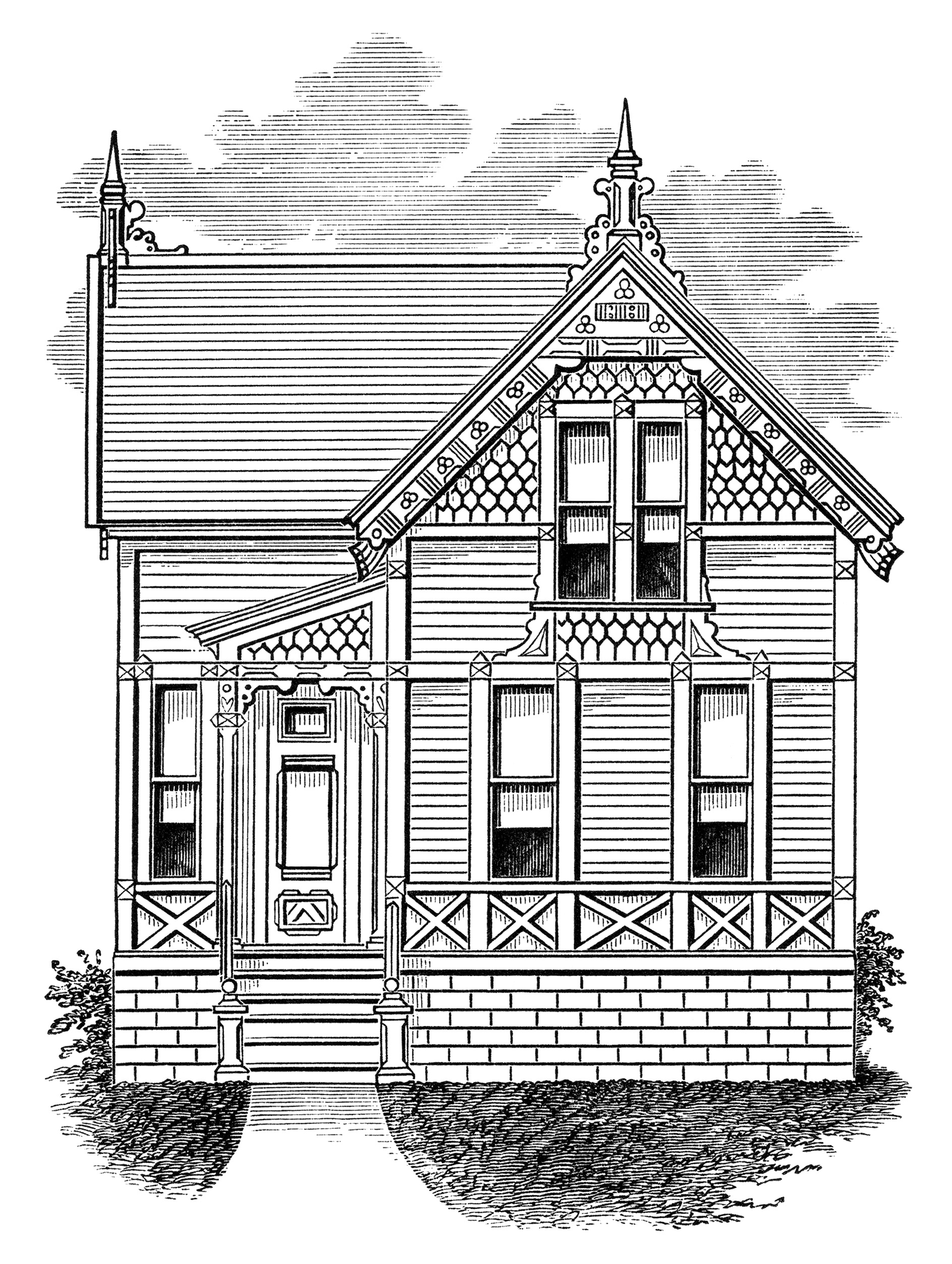 Illustration clipart simple house Vintage clipart home home small+old+house+Victorian