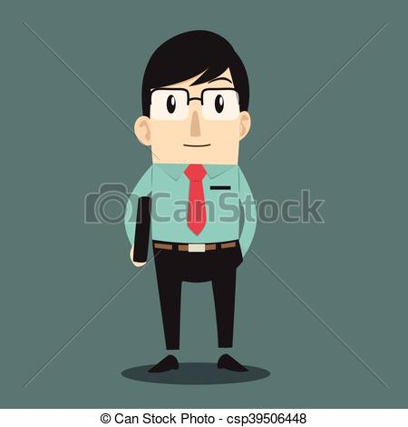 Illustration clipart serious person EPS  smart man of