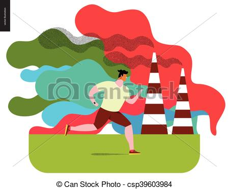 Illustration clipart smog Running with Flat Vector vector