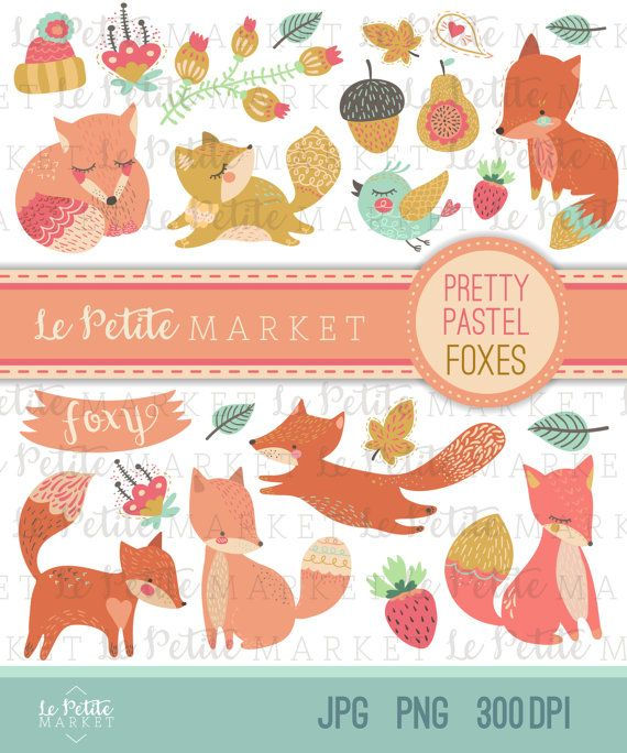 Illustration clipart sticker Fox Pastels Fox Pinterest Goods: