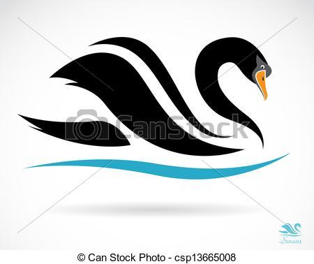 Black Swan clipart illustration Vector image background black Vector