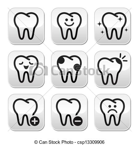 Illustration clipart tooth  set buttons teeth of