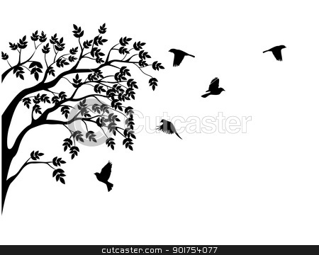 Illustration clipart tree bird silhouette Similar images: and vector Tree