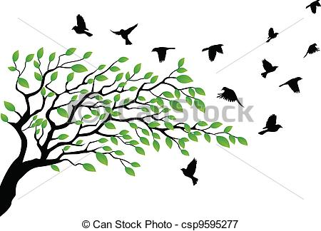 Illustration clipart tree bird silhouette Tree silhouette flying bird with