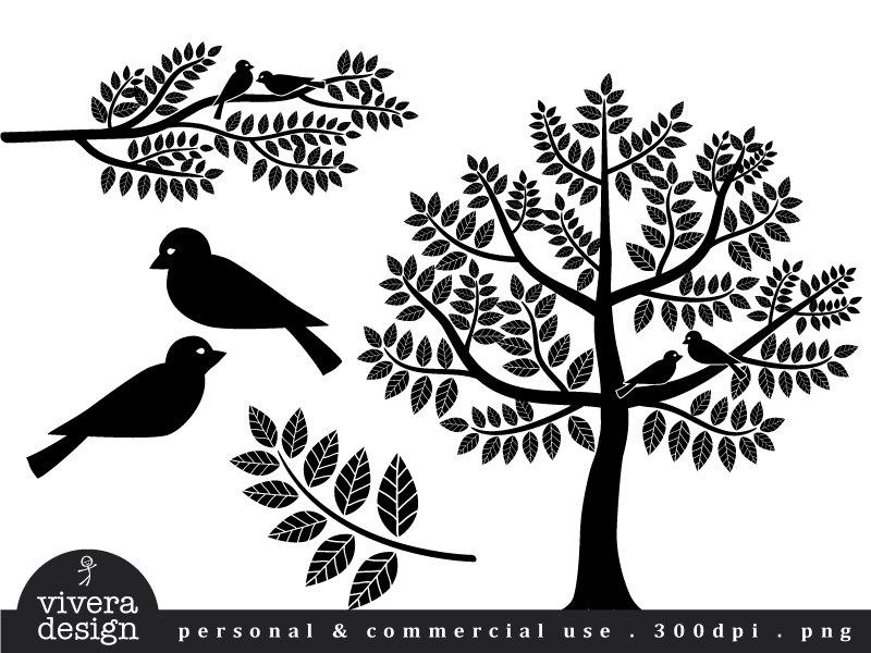 Illustration clipart tree bird silhouette Black in Digital in Love
