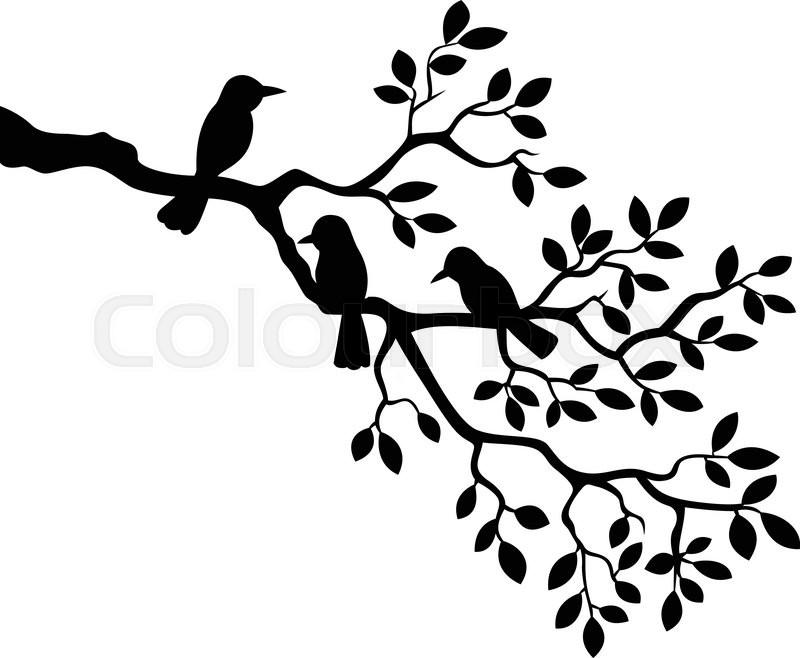 Illustration clipart tree bird silhouette Vector illustration with tree Colourbox