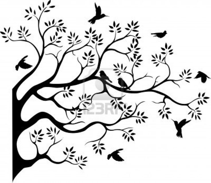 Illustration clipart tree bird silhouette Cliparts on Vectors Free Silhouette