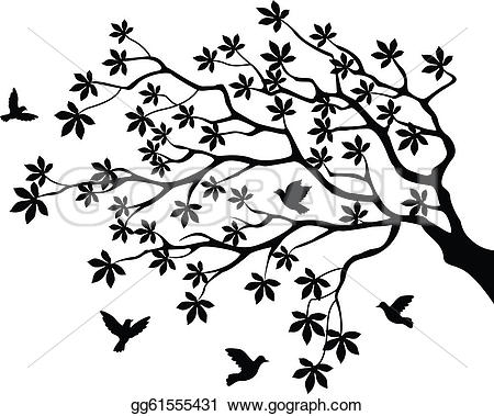 Illustration clipart tree bird silhouette Bird flying flying with Vector