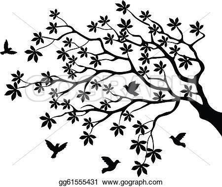 Illustration clipart tree bird silhouette Vector Art flying of gg61555431