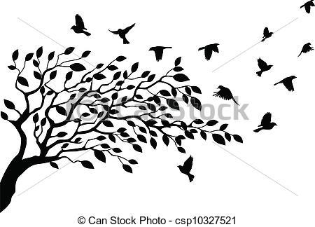 Illustration clipart tree bird silhouette Vector Tree royalty silhouette Vector