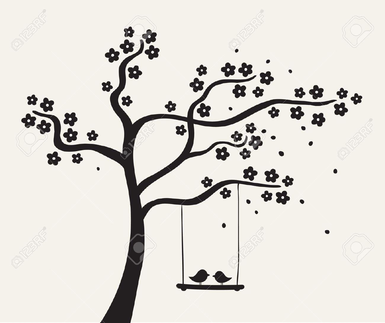Illustration clipart tree bird silhouette Love Tree Tree Flower Free