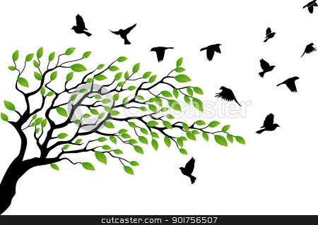 Illustration clipart tree bird silhouette Tree silhouette flying Girl with