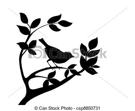 Illustration clipart tree bird silhouette Halloween bird  644; Clip