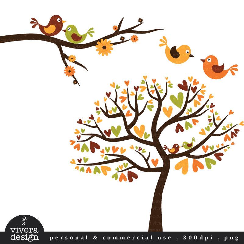 Illustration clipart tree bird silhouette Birds tree love On Illustration