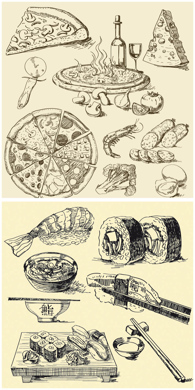 Illustration clipart vintage With illustrations sushi and and