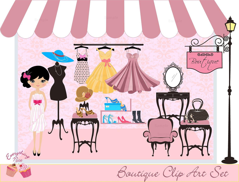 Illustration clipart vintage chic fashion boutique Boutique Clip  Set Art