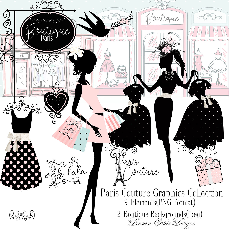 Illustration clipart vintage chic fashion boutique Clip card art art dress