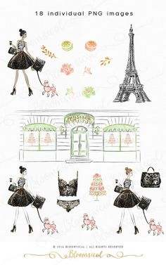 Illustration clipart vintage chic fashion boutique Clip Macarons Planner Fashion Graphics