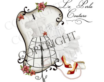 Illustration clipart vintage chic fashion boutique Sewing logo Seamstress Template Illustration