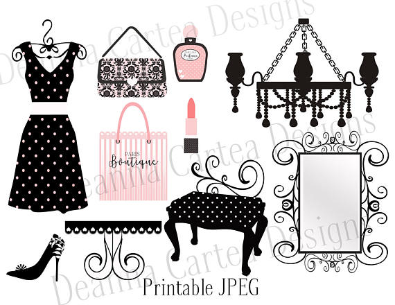 Illustration clipart vintage chic fashion boutique Art clip dress making Boutique