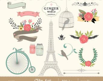 Illustration clipart vintage chic fashion boutique Digital bicycle Fashion bird room
