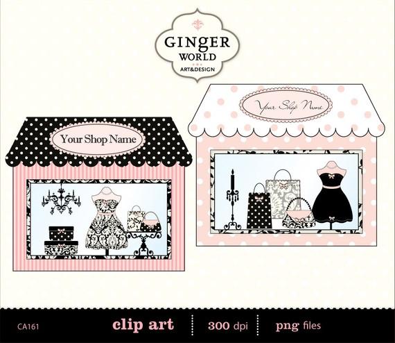 Illustration clipart vintage chic fashion boutique Banner window Boutique Fashion boutique