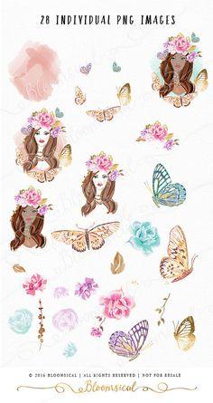 Illustration clipart vintage chic fashion boutique Clothing a crown  floral