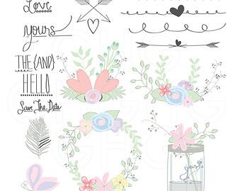 Illustration clipart wedding flower Clip EPS Digital Illustration Flower