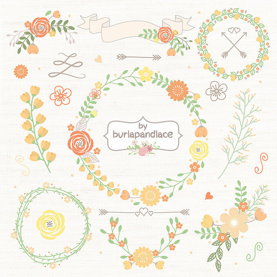 Wreath clipart flower illustration Hand Flower Digital Clip Art