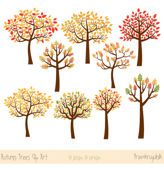 Illustration clipart whimsical tree Set clip forest red tree