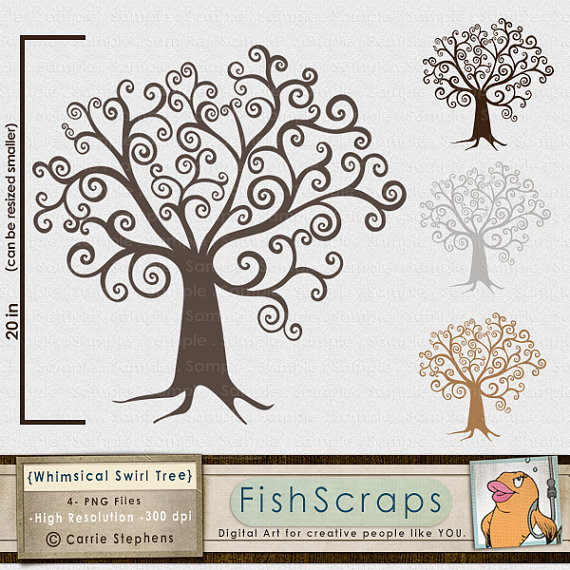 Illustration clipart whimsical tree Digital Tree Silhouette Print Download