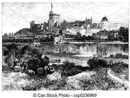 Illustration clipart windsor castle Castle Windsor Engraving Illustration Illustration