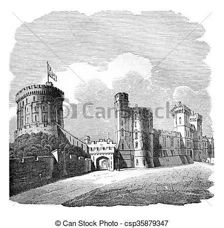 Illustration clipart windsor castle Vintage Castle Clipart engraving Illustration