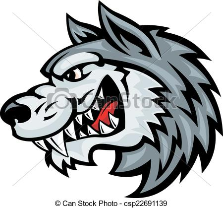Wolf clipart angry wolf Isolated head wolf on of