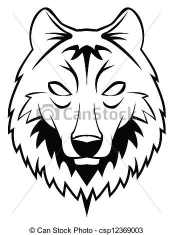 Illustration clipart wolf head Vector csp12369003  Clip wolf