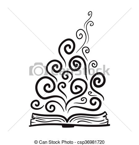 Imagination clipart black and white Book Vector of Vector hand