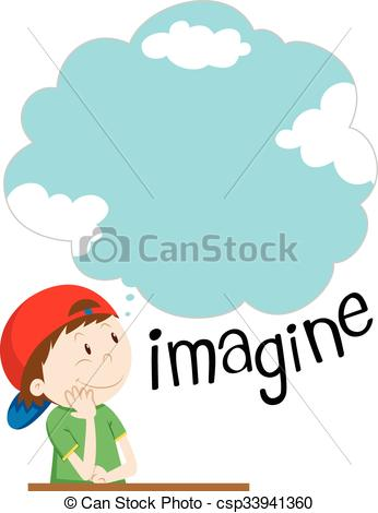 Imagination clipart bubble Boy imagination Boy with with
