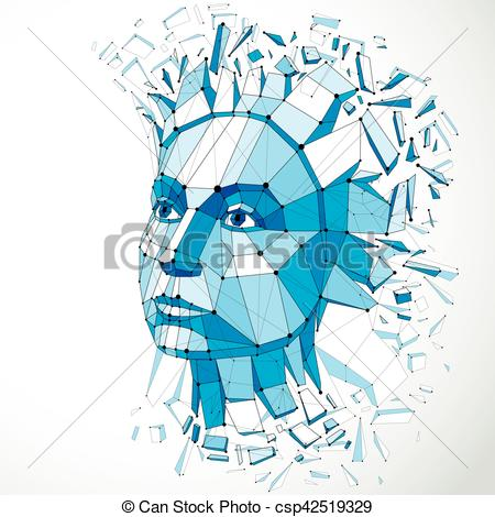 Imagination clipart intelligence Poly lines low with portrait