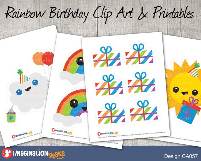 Imagination clipart rainbow Party Birthday Art digital Clip