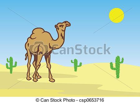 In The Desert clipart Desert Camel csp0653716 of cactuses