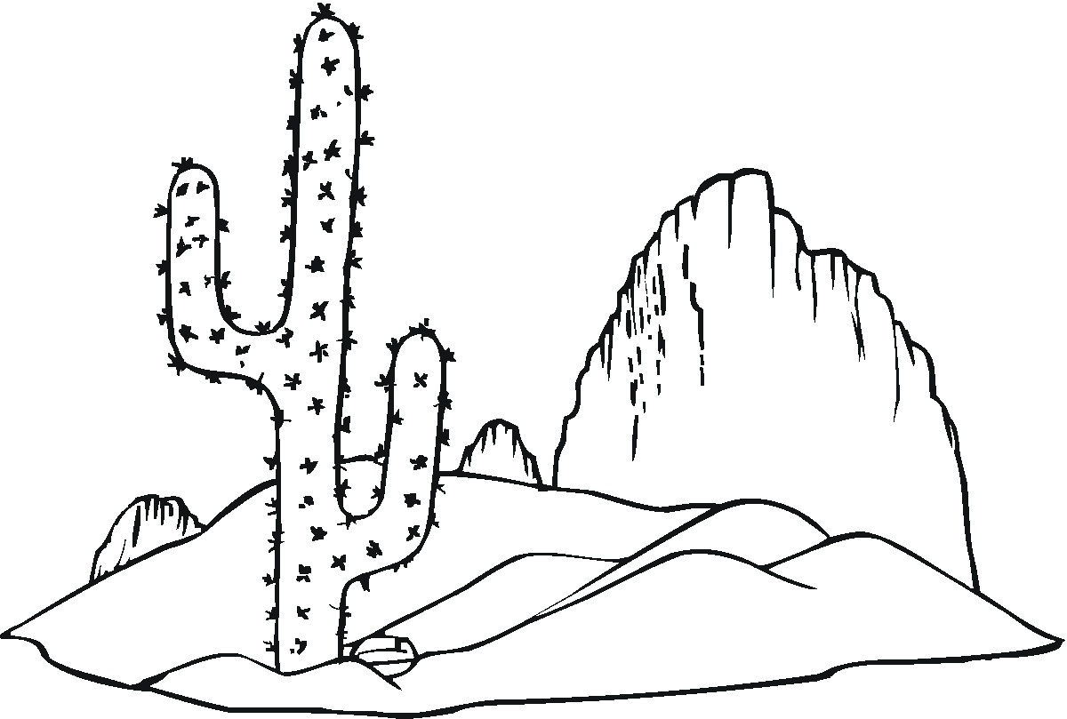 In The Desert clipart black and white And collection Cactus clipart white