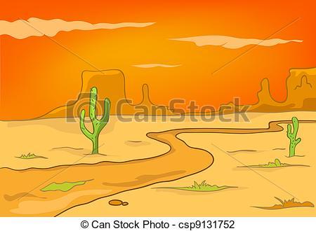 In The Desert clipart cartoon Landscape Isolated Cartoon Nature Cartoon
