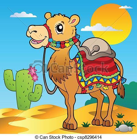 In The Desert clipart cute Vector scene Stock EPS