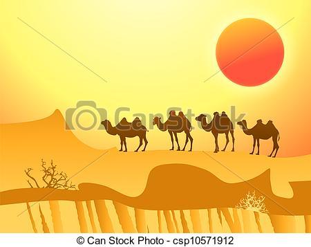 In The Desert clipart desert camel Caravan Vector the in of