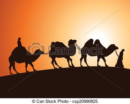 In The Desert clipart desert caravan Vector of vector vector Illustration