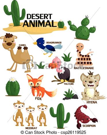 In The Desert clipart desert ecosystem Vector Set Vector csp26119525 csp26119525
