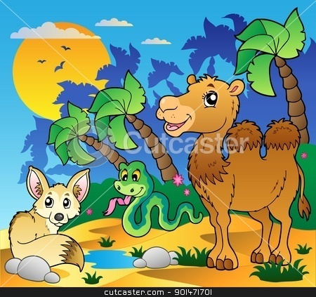 In The Desert clipart desert ecosystem With various animals animals stock