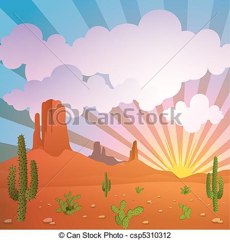 In The Desert clipart desert landscape Wooden Landscape vector Vector with